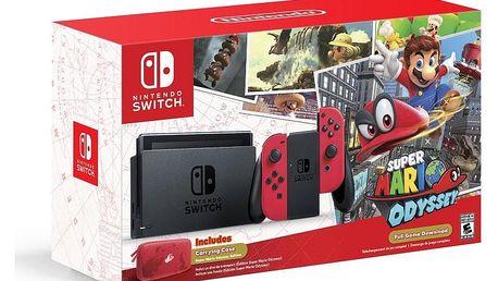 Herní konzole Nintendo Switch, červená + Super Mario Odyssey