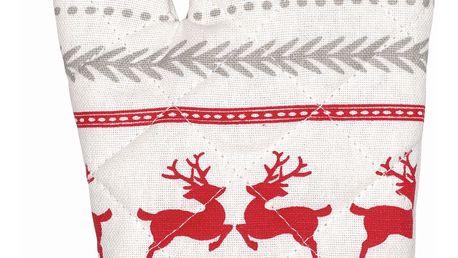 GREEN GATE Grilovací rukavice Ivy white, červená barva, šedá barva, bílá barva, textil