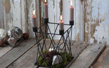 Chic Antique Adventní svícen Antique Coal, černá barva, kov