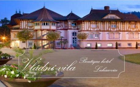 Boutique hotel Vládní vila Luhačovice s polopenzí a vstupem do aquaparku