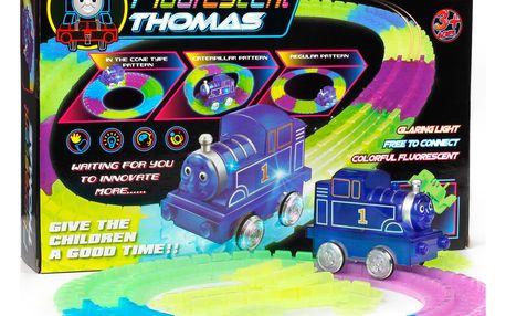 Fluorescent Train Thomas svítící autodráha Mašinka Tomáš - 72 dílů
