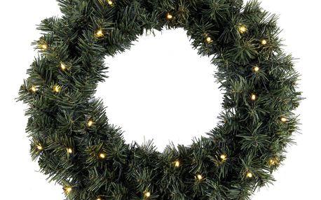 STAR TRADING Svítící vánoční věnec Ottawa 50 cm, zelená barva, plast