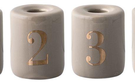 Bloomingville Porcelánový adventní svícen Stone - set 4 ks, béžová barva, porcelán