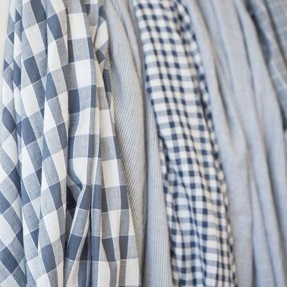 IB LAURSEN Dámský šátek s třásněmi Blue checkered/striped Typ E, modrá barva, textil