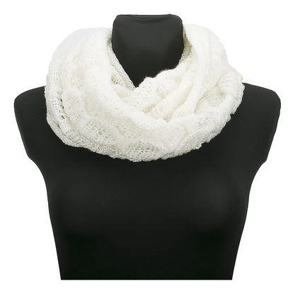 Zimní dámská pletená šála - tunel bílá