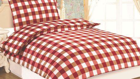JAHU Povlečení Dallas Kostka červená micro satén, 140 x 200 cm, 70 x 90 cm