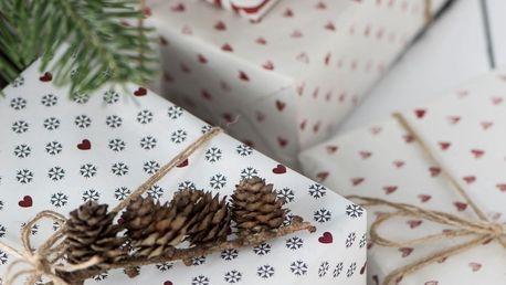 IB LAURSEN Balicí papír Snowflakes - 10m, šedá barva, bílá barva, papír