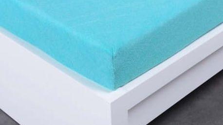 XPOSE ® Bambusové froté prostěradlo dvoulůžko - azurová 180x200 cm