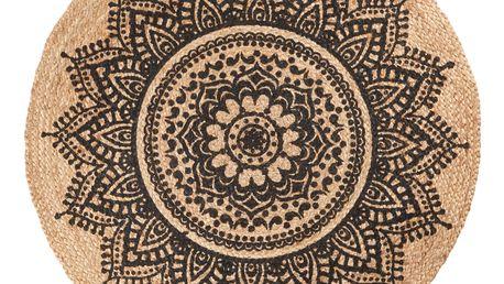 IB LAURSEN Jutový koberec Rosette 100cm, černá barva, přírodní barva