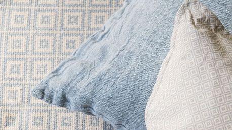 IB LAURSEN Koberec Beige/blue 60x180 cm, modrá barva, béžová barva, textil Béžová