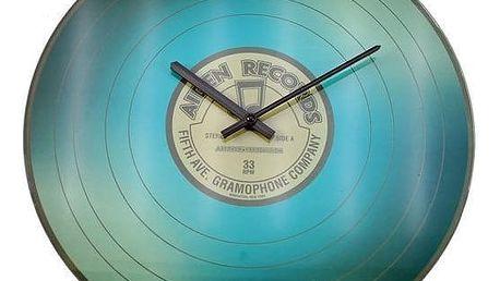 Koopman 35237 Nástěnné skleněné hodiny VINYL 35 cm - MODRÁ