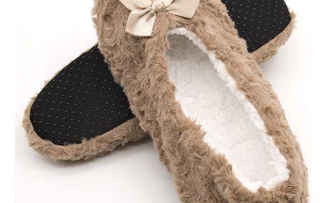 Dámské domácí papuče barevné s mašlí s kožiškem