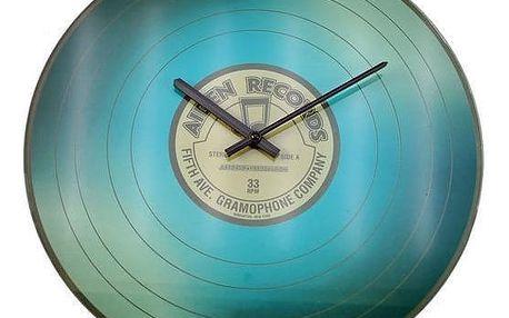 Koopman VINYL 35237 Nástěnné skleněné hodiny 35 cm - MODRÁ