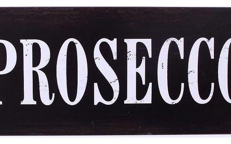 La finesse Plechová cedule Prosecco, černá barva, kov