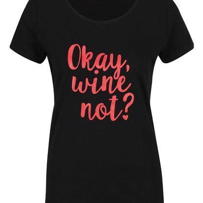 Černé dámské tričko ZOOT Originál Wine not