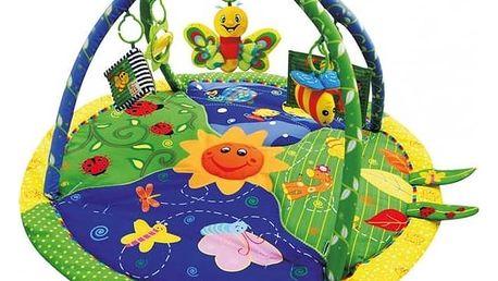 Hrací deka s hrazdou Sun Baby Krásná zahrádka modrá/žlutá/zelená + Doprava zdarma