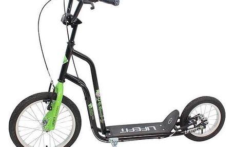 """Koloběžka LIFEFIT Rider 16""""/12"""" černá + Reflexní sada 2 SportTeam (pásek, přívěsek, samolepky) - zelené v hodnotě 58 Kč"""