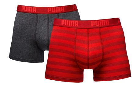 2PACK Pánské Boxerky Puma Striped Red Long M