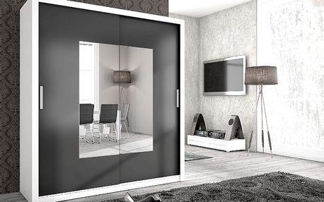 MEBLINE Levná šatní skříň ALFA 180 se zrcadlem bílý/grafit mat