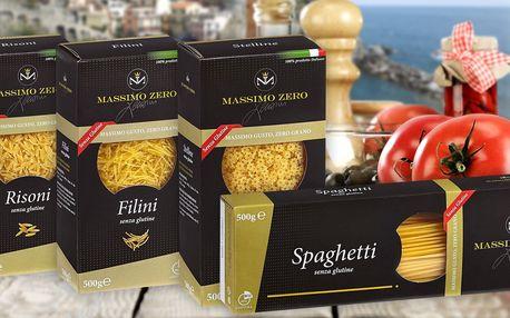 Bezlepkové těstoviny Massimo Zero různých tvarů