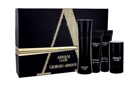 Giorgio Armani Black Code EDT dárková sada M - toaletní voda 125 ml + balzám po holení 75 ml + sprchový gel 75 ml + deostick 75 ml