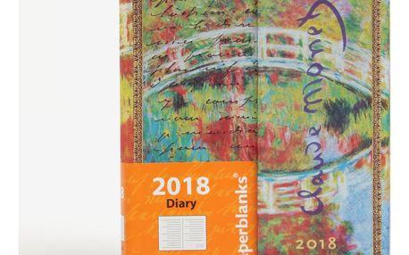 Modro-zelený vzorovaný diář 2018 Paperblanks Monet