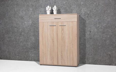Easy - Botník, 2x dveře, 1x zásuvka (dub sonoma)