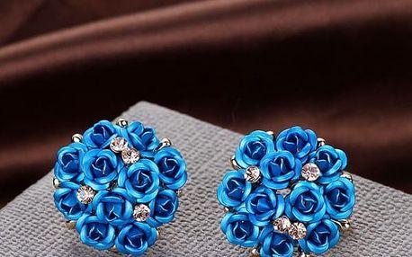 Náušnice ve tvaru růžiček s kamínky