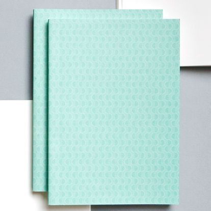 ola Notes v šité vazbě Turquoise Wave A5 - 128 stran, modrá barva, zelená barva, papír