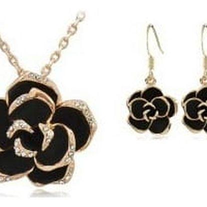 Set šperků ve tvaru růže posázený krystaly Swarovski element