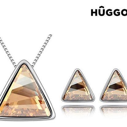 Sada potažená rhodiem: Přívěsek a náušnice Triangle Hûggot vyrobené s křišťály Swarovski® 45 cm