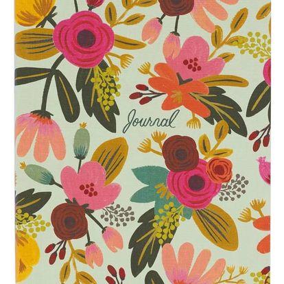 Rifle Paper Co. Linkovaný deník Mint Floral, zelená barva, multi barva, papír