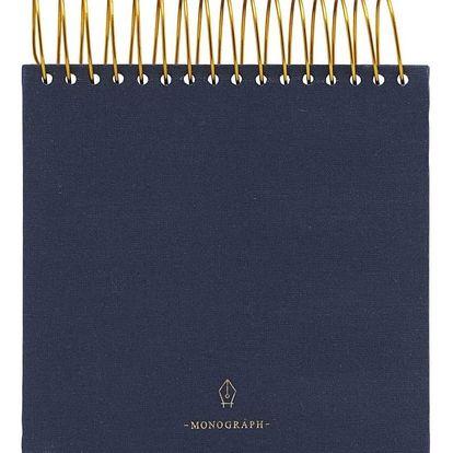 MONOGRAPH Poznámkový blok Spiral Blue 300 stran - široký, modrá barva, zlatá barva, papír