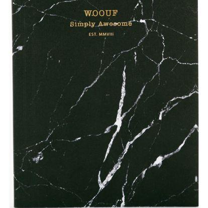 Woouf! Notýsek Black Marble A6, černá barva, papír