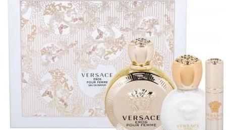 Versace Eros Pour Femme dárková kazeta pro ženy parfémovaná voda 100 ml + tělové mléko 100 ml + parfémovaná voda 10 ml