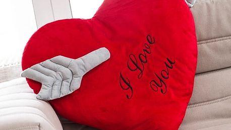 Polštář ve Tvaru Srdce Probodnutého Šípem I Love You Wagon Trend 60 cm