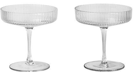 ferm LIVING Skleničky na šampaňské Ripple - sada 2 ks, čirá barva, sklo
