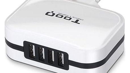 Stěnová nabíječka TooQ TQWC-1S04WT USB x 4 34W Bílý