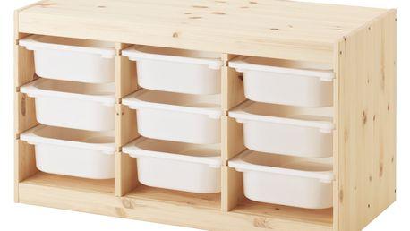 Úlož. kombinace s krabicemi TROFAST světle bíle mořená borovice borovice