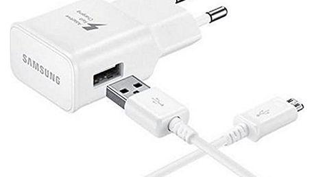 Nabíječka do zásuvky ve zdi + kabel mikro USB C Samsung EP-TA20EWECGWW USB 2.0 2 mA 5 V 240 V Bílý