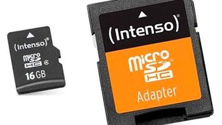 Paměťová karta Micro SD s adaptérem INTENSO 3413470 16 GB Třída 10