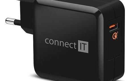 Nabíječka do sítě Connect IT InCarz, 1x USB (3A), s funkcí rychlonabíjení QC 3.0 (CWC-2010-BK) černá