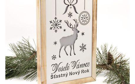 Fashion Icon LED Dřevěný vánoční obrázek - Vánoční sobík