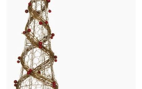 Vánoční stromeček Drátěná síť Ratan Přírodní Šampaňský 16 x 16 x 60 cm by Homania