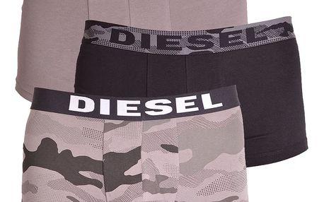 3PACK pánské boxerky Diesel šedé s maskáčem L