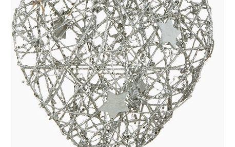 Lampion Vánoce Srdce Stříbřitý 20 x 4 x 20 cm by Homania