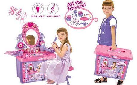 G21 Dětský kosmetický stolekG21 se zrcadlem a zvuky v kufru