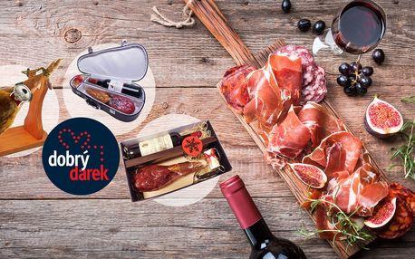 Španělská sušená kýta Jamón s vínem a pralinkami v originálním dárkovém balení