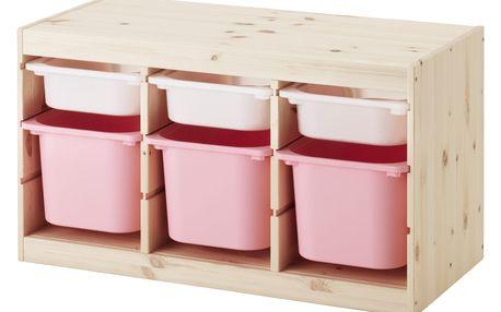 Úlož. kombinace s krabicemi TROFAST světle bíle mořená borovice borovice bílá
