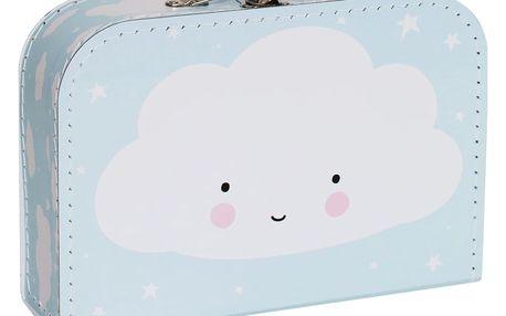A Little Lovely Company Dětský kufřík Cloud Blue, modrá barva, papír